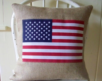 burlap American flag pillow - red white and blue - americana - patriotic - summer - home decor - july 4th - fourth of july - labor day