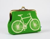Metal frame change purse - Bicycle in green - Deep dad / Echino Japanese fabric / Mint green and white
