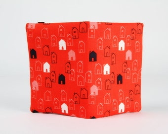 Fabric card holder -  Little houses on red / Dashwood studio / Mori Girls / Cute houses / Bright red peach pink navy blue white