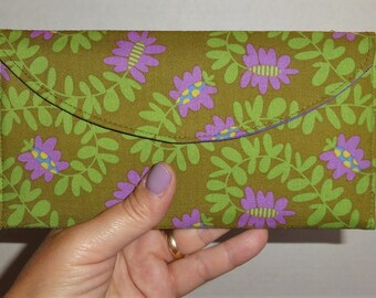 Large Olive Green and Purple Floral Wallet