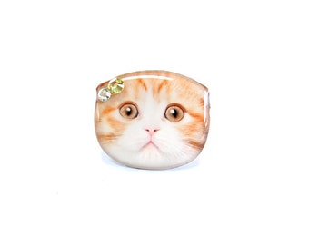 Orange and White Fold Ear Cat Kitten Ring - A0010-R C32 Made to Order