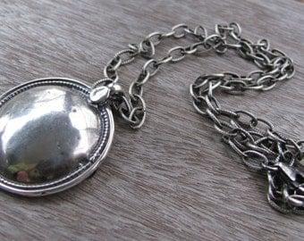 Modern Round Silver Domr Pendant Necklace- Oxidized Silver Csble Chain