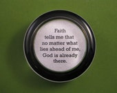 Confirmation Faith and God Quote Religious Round Glass Paperweight Gift