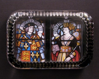 Richard III and Queen Anne Neville Stained Glass Window Heirloom Rectangle Glass Paperweight English Home Decor