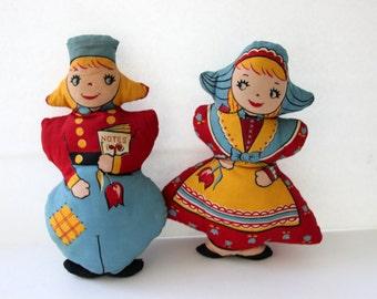 Vintage Stuffed Dolls - Dutch Rag Dolls - Vintage Toys