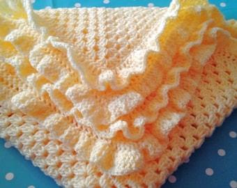 Baby Blanket Crochet in the colour Lemon Frilly edging for a Baby Girl or Boy Unisex Crochet
