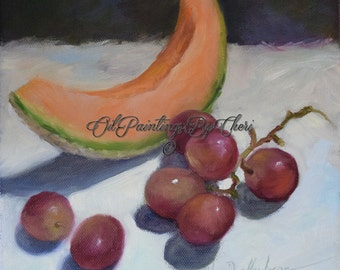 Still Life With Cantaloupe And Grapes,Oil Painting,Original Canvas Painting by Cheri Wollenberg