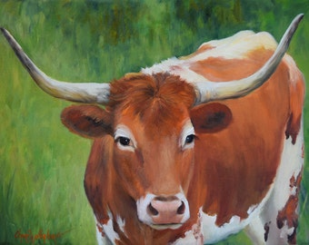Longhorn Cow Painting 216, Longhorn Lucy, Original Oil Painting by Cheri Wollenberg