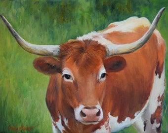 Longhorn Cow Painting 216, Longhorn Lucy, Original Oil Painting by Cheri Wollenberg