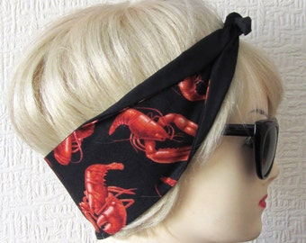 Lobster Hair Tie Head Scarf by Dolly Cool Sailor Nautical Rockabilly Novelty Print