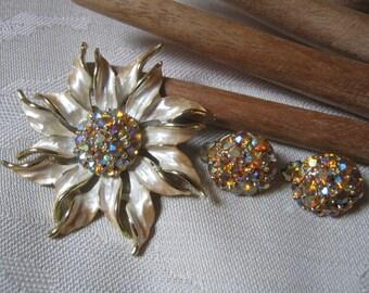 Vintage pearly enamel flower brooch clip earrings set, golden crystals clip earrings flower brooch, aurora borealis crystals flower earrings