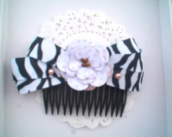 Zebra Glam Flower Hair Comb, Dive, Glam, Hair combs, HandmadeBlack White Lavender Hair Comb, Glam,