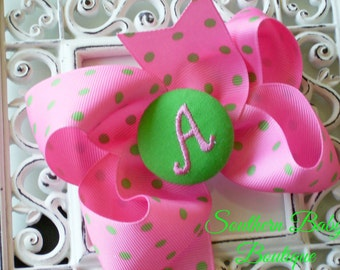 New Item---Boutique Monogrammed Baby Toddler Girl Hair Bow Clip---POLKA DOTS---Hot Pink and Apple Green---Letter A--Ready to Ship
