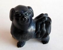 Vintage Hand-Carved Black Soapstone Pekingese Dog Figurine Miniature - Tiny Fluffy Black Dog - Artisan Made - Black w/ Gray Etching