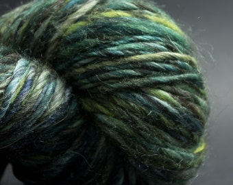 Green, HandSpun and Hand dyed Yarn, Silk, Alpaca and Merino, heavy worsted Single, 95 yards