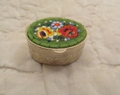 Vintage Pill Box with mosaic design on Top new vintage stock