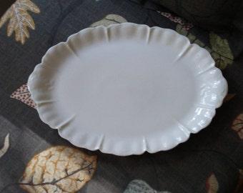 Antique Haviland France Scalloped Oval Porcelain  Platter