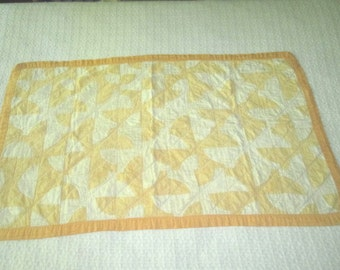 Vintage 1930s Cotton Crib Quilt in Lovely Yellow and White Fool's Puzzle Design