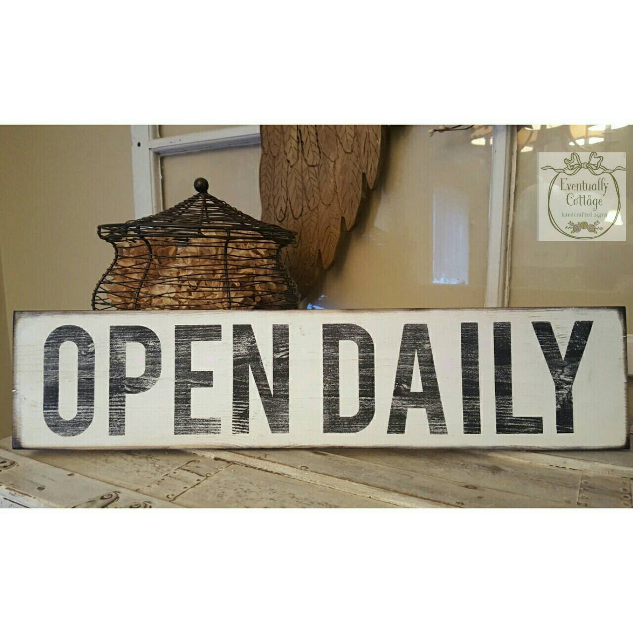 Open Sign Horizontal Wall Art Kitchen Signs Farmhouse Style