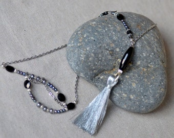Silver Tassel Necklace. Back Onyx Gray Fresh Water Pearls Gemstones. Tassel Silver filled Chain Necklace.
