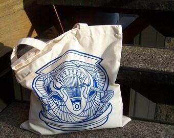 Dancing Heron Crest - hand screen printed cotton tote bag
