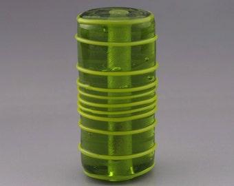 Geometric Linework Cylinder Tube Focal Artisan Lampwork Bead Stringer Grass Green Handmade Glass Heather Behrendt  SRA 3531