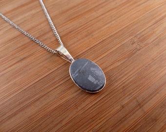 Gibeon Iron Meteorite Silver Pendant.