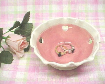 Heart Bowl - Heart Cut Outs - Perfect Valentine Gift - Pink Pottery White Trim - Fluted Edges - Tealight Holder - Potpourri Dish - Ring Dish