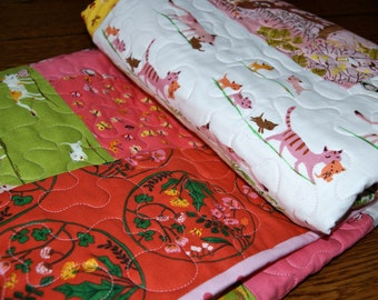 Quilt Tiger Lily Log Cabin Baby Toddler Children Nursery Bedding Pink Green Cats Ballerinas Tree Girl Dandelion Modern
