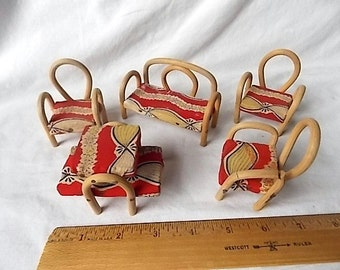 Vintage Mid Century Modern Dollhouse Furniture Bent Wood & Fabric Settee Chairs +