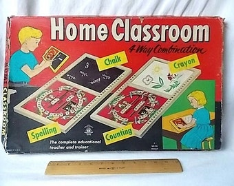 Vintage 1950s Educational Toy Drawing, Spelling, Math Board in Box