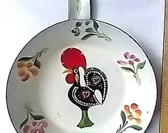 Vintage Tole Painted Folk Art Rooster on Frying Pan