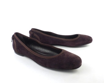 Ferragamo Ballet Flats Vintage 1990s Shoes Brown Suede Leather  size 8 B