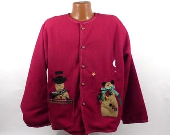 Ugly Christmas Sweater Vintage Cardigan Snowman Jacket Holiday Tacky Women's
