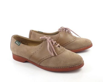Vintage 1980s Bass Tan Brown Suede and Leather Oxford Saddle Shoes women's size 9