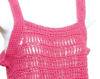 Pink Tunic Top,  Women's Crochet Top, Berry Pink Tunic