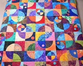 King Quilt Batik Handmade Planets 'N Moons Drunkards Path 94 x 102 Quiltsy