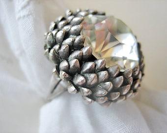 Vintage Mid Century Modern Rock Crystal ring, Vintage Rock Crystal ring, vintage cocktail ring, vintage silver plate and Rock Crystal ring