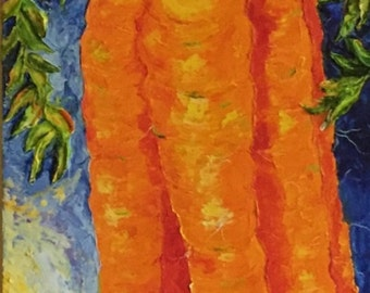 Long Carrots 12x36 Inch Original Impasto Oil Painting by Paris Wyatt Llanso