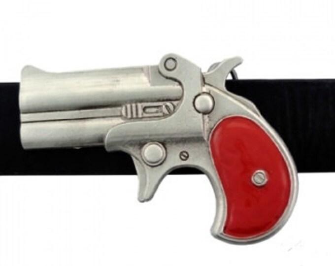 Men's Belt Buckle, Gun Belt Buckle, Derringer Belt Buckle, Silver Gun, Red Handle, Unisex Belt Buckle, Rockabilly Buckle, Rocker  Buckle,