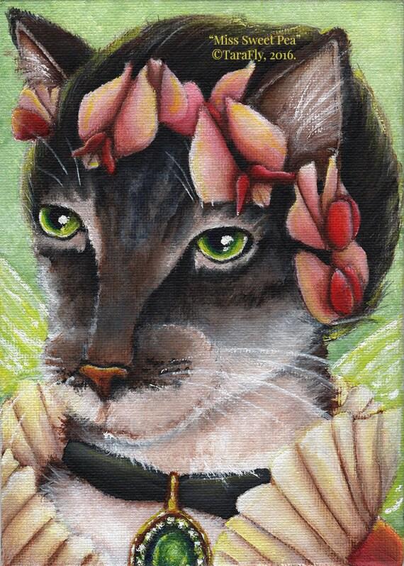 Sweet Pea Cat Fairy Fantasy Flower Art 5x7 Fine Art Print