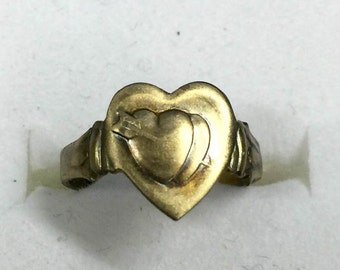 1930-40s Brass ARROW and DOUBLE HEART Adjustable Ring for Kids
