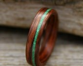 Wooden Ring - Kingwood Bentwood Ring with Offset Malachite Inlay - Handcrafted Wood Wedding Ring - Custom Made