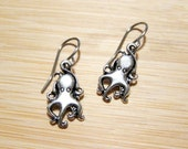 SALE Mini Octopi Octopus Tibetan Silver Embossed Earrings