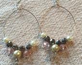 Romantic, Pale pink, cream, and silver dangle hoop earrings