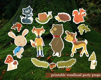 Printable Woodland Forest Animals photo booth props, bear, fox, hedgehog, racoon, squirrel, rabbit photo booth props - garden props