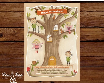 Woodland Oak Treehouse fairy and elf Custom Birthday Printable Party Invitation