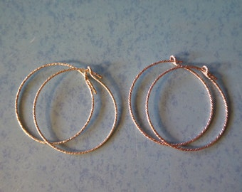 """Shop Sale.. 1 5 10 pairs, Sterling Silver or 14k Gold Fill Hoop Earrings, 25 mm, 1"""" in, Sparkle Finish, interchangable add a dangle gfh25"""