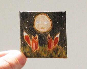 october moon  / MINIATURE painting on canvas panel
