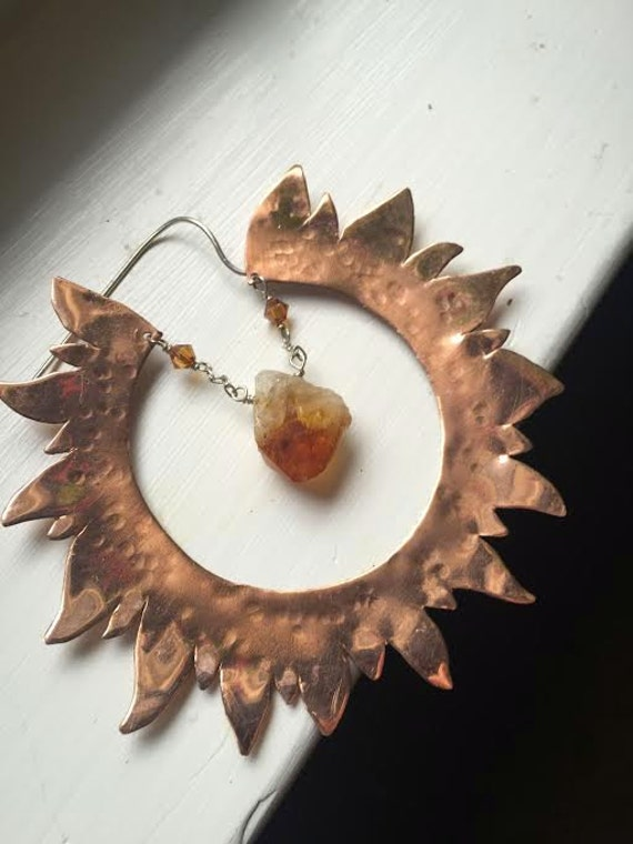 Copper Sun statement earrings with rough crystal points